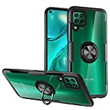 KONEE Hülle Kompatibel mit Huawei P40 Lite, Transparente Handyhülle Mit 360 ° Verdrehbare Ring [ TPU + PC ], für Magnetischen Autohalterungen, Multifunktions Abdeckung für Huawei P40 Lite