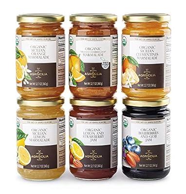 USDA Organic Sicilian MIX CITRUSES Marmalade 12.7oz. (PACK OF 6) ARANCIA DI RIBERA D.O.P., SICILIAN ORANGE, SICILIAN LEMON, BLUEBERRY and GOJI, LEMON and STRAWBERRY, SICILIAN CLEMENTINE