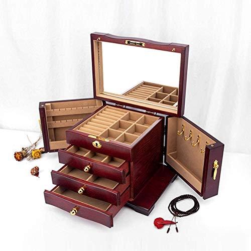 SETSCZY Cajas para Joyas Joyero Multifuncional de Gran Capacidad, Caja de Almacenamiento de joyería de Madera Maciza de Alta Gama con Cerradura de cosméticos para Dama,Marrón