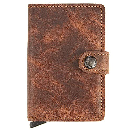 Secrid Unisex-Adults Vintage Leather Security case Miniwallet One Size Cognac Rust