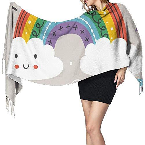 Cathycathy grijs affiche met kleurrijke regenboog, wolk en vogel - Eps-Sal-plafond-Karo-verpakkingssjaal