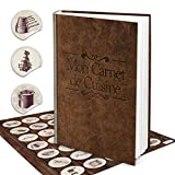Logbuch-Verlag Set XXL Rezeptbuch por Selberschreiben DIN A4 MON CARNET DE CUISINE Leder-Optik FRANZÖSISCH + 24 Küchenaufkleber marrón recetas propias Vintage DIY