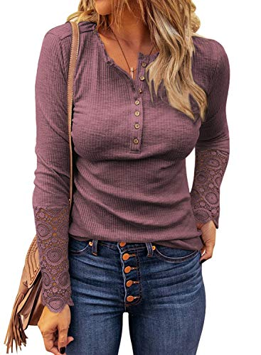 LOLONG Womens Sexy V Neck T-Shirt Long Sleeve Lace Buttons Blouse Ribbed Henley Tunic Tops Cameo Brown