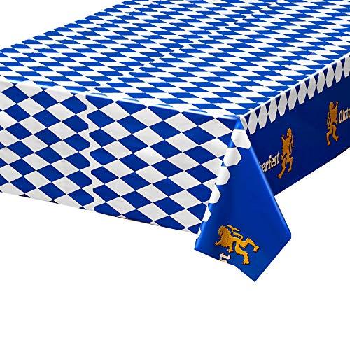 3 Stücke Plastik Oktoberfest Bayerische Flagge Check Tischdecke für Oktoberfest Party Dekorationen und Zubehör, 54 x 108 Zoll