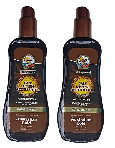 Australian Gold Dark Tanning Accelerator Spray Gel with Bronzer (2 Pack)