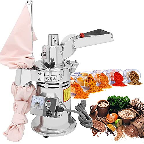 CGOLDENWALL DF-15 Hammer Mill Grinder Commercial Electric Herb Grinder Mill Industrial Automatic Continuous Spice Hammer Grain Mill Pulverizer Capacity 33 Pounds Per Hour Rotate Speed 20000r/min