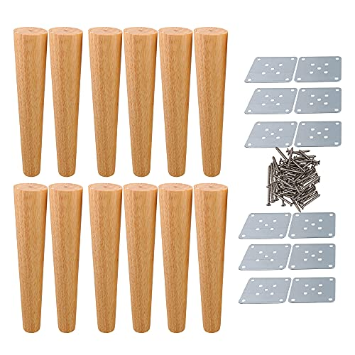 BQLZR 30x6x3.5cm Tapered Wooden DIY Furniture Legs Feet for Sofa Bed Pack of 12