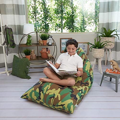 Stuffed Animal Storage Bean Bag Chair Cover – Stuff 'n Sit Toy Bag Floor Lounger for Kids, Teens and Adult |Extra Large 200L/52 Gal Capacity |Premium Cotton Canvas (Camouflage)