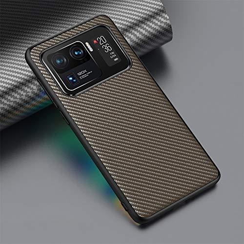 DEMCERT PUROOM Schutzhülle für Xiaomi 11 Ultra, klassische Karbonfaser, Leder, Hybrid-Hülle, stoßfest, Schutzhülle für Xiaomi 11 Pro (Xiaomi Mi 11 Ultra, Gold)