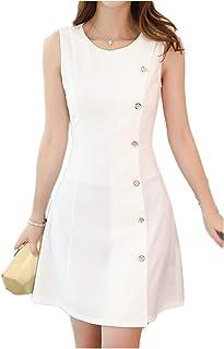 [ワン アンブ] ノースリーブ ワンピース 無地 Aライン 袖なし チュニック ミニ ドレス S ~ XL レディース