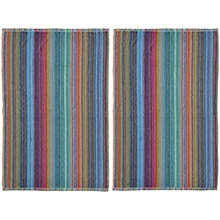 Odyssey Stylish & Attractive 100% Cotton Colourful Remnant Stripe Absorbent and Quick Dry Hand Towels or for Use in Garage, Garden, Car Cleaning Set 50 x 85cm 350gsm (2 x Hand Towels):Maskedking