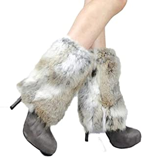 Knitted Fur Leg Warmers With Rabbit Fur Winter Leggings Boot Toppers