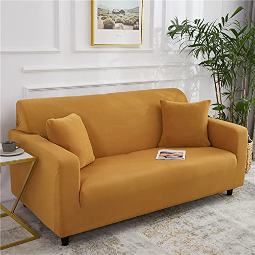 Fundas Sofa Elasticas,Modern Pure Color Beige Minimalist Fashion Super Stretch Non Slip Wrinkle Resistant Couch Cover For Dogs Cat Pet Friendly Elastic Furniture Protector Sofa Slipcovers,Camel,1S