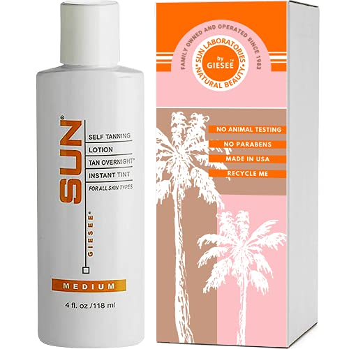 Sun Laboratories Tan Overnight Sunless Self Tanning Lotion for Body & Face   All Natural Bronzing...