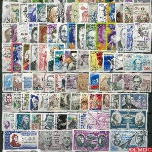 Sammlung Briefmarken Frankreich entwertet Prominente Anzahl der Briefmarken:100 Briefmarken unterschiedliche