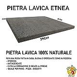 PIETRA LAVICA ETNEA 39x35X2 cm   PIASTRA PER FORNO DA CUCINA - IDEALE PER PANE E PIZZA