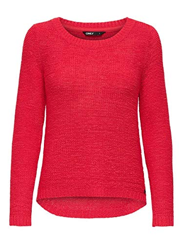 ONLY onlGEENA XO L/S PULLOVER KNT NOOS, Pull Femme, Rouge (High Risk Red), 36 (Taille fabricant: Small)