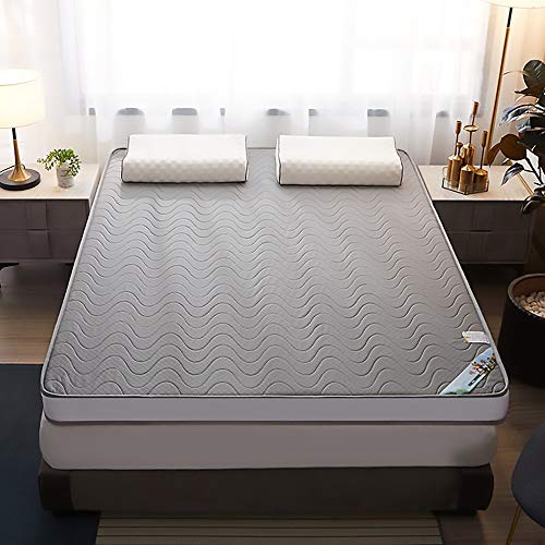 MKMKT Colchón, colchón de látex natural de tamaño completo, tatami grueso, plegable, diseño ergonómico, gris ondulado, sin almohada, grosor 8,9 cm, varios tamaños, 79 x 88,9 pulgadas