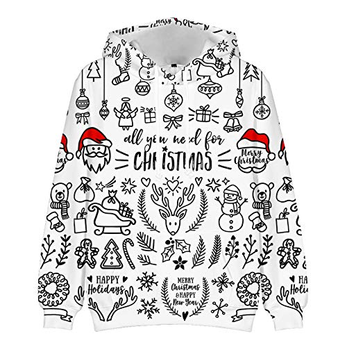 Mr.BaoLong&Miss.GO Autumn and Winter Mens Christmas Sweater Couple Sweater Christmas Sports Hoodie Christmas Jacket Bottoming Shirt