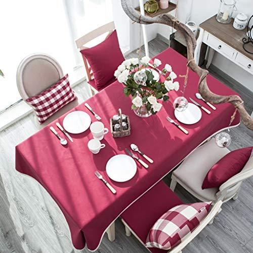 Tissu de nappe imperméable Couleur unie Dentelle Rectangle Couverture de table à l'épreuve de la poussière pour la cuisine Table à manger Décoration de table pour buffet, fêtes, dîner de vacances, mar