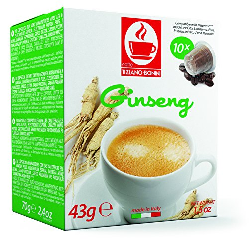 Ginseng Flavored Kaffee - 10 Stück Kompatible Kaffeekapseln von Caffè Bonini Italien. Kompatibel für Nespresso* Maschinen