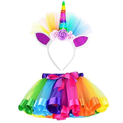 Vestito Unicorno Bambina Vovotrade Tutu Bambina Rainbow Ribbon Tutu Gonna per Bambine Costume da Balletto Foto con Unicorn Flower Fascia per Little Pony Dress Up Fun