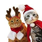 1セット(3pcs) クリスマス 帽子 かわいい ペット用品 トナカイ サンタ服 クリスマス 衣装 猫・子犬 キャップ クリスマスプレゼント パーティ コスチューム 調節可能 (マント含まない)Kungfu Mall