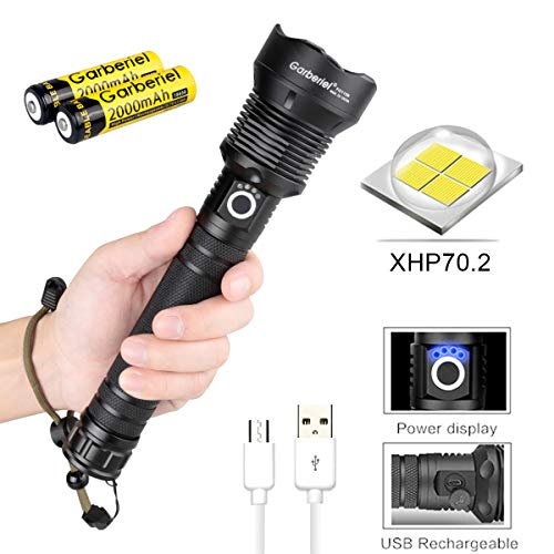 HeCloud XHP70.2 Super Bright Tactical Flashlight, High Lumens Water Resistant Camping Flashlight, High Power Led Flashlight, Rechargeable Portable Outdoor Torch, Zoomable Light with Power Display