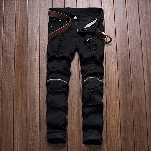 Jeans Neue Herren Jeans Slim Fit Löcher Reißverschluss Stretchhose Trend Weiß Schwarz Zerstören Hip Hop Lässige Tägliche Jeans Für Männer 32