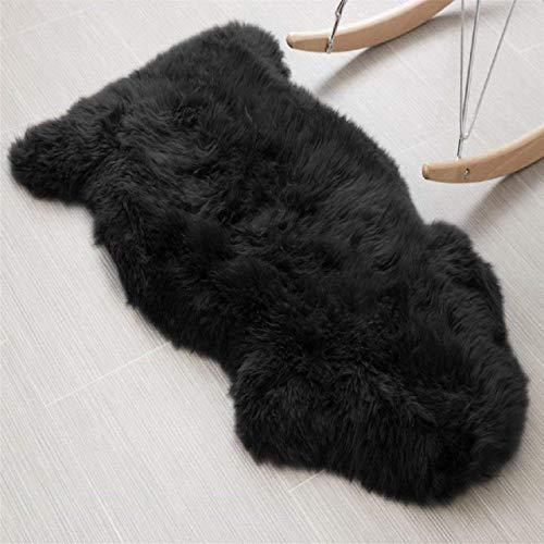 DAOXU Fell Lammfell Schaffell/Sheepskin Rug, Lammfellimitat Flauschigen Teppiche Imitat Kunstfell,Langes Haar Nachahmung Wolle Bettvorleger Sofa Matte (Schwarz, 60 x 90 cm)