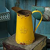 APSOONSELL French Style Shabby Chic Vase Metal Flower Vase Vintage Jug Rustic Farmhouse Decor for Home, Yellow