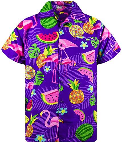 Funky Camisa Hawaiana, Manga Corta, Flamingo Melon, Violeta, XL
