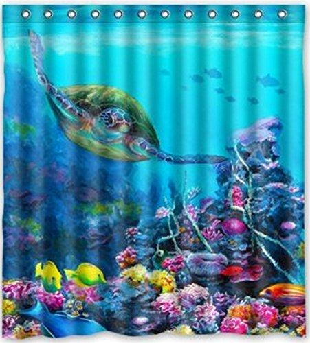 167,6 cm (Largeur) x 182,9 cm (Hauteur) Tortue de mer thème Peinture 100% polyester Motif de Salle de Bain Rideau de douche de douche Anneaux Inclus