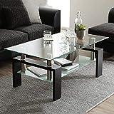 Leisure Zone® Table basse de salon en verre Noir moderne rectangle avec étagère inférieure