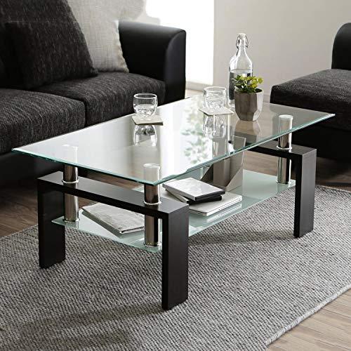 Leisure Zone Transparenter Gehärtetes Glas Chrom Wohnzimmer Couchtisch, Schwarzer Moderner Rechteckiger Teetisch mit Unterem Regal und Holzbeinen für das Wohnzimmer, Größe: L 100 x B 60 x H 45 cm
