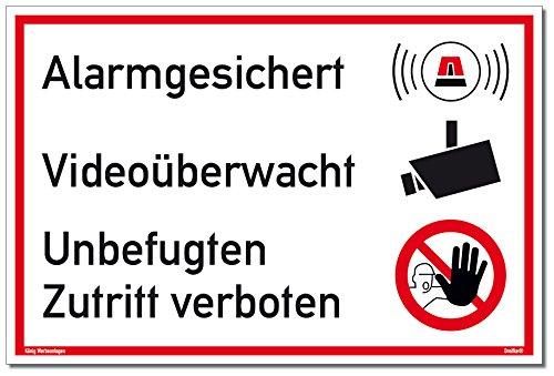 Schild Alarmgesichert Videoüberwacht | Unbefugten Zutritt verboten | stabiles Alu Schild mit UV-Schutz 30 x 20 cm | weiß | Alarmanlage Videoüberwachung Kameraüberwacht | Dreifke®