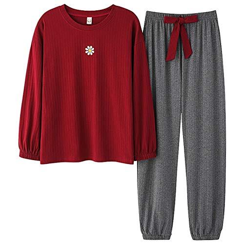 FLORVEY Conjuntos de Pijamas Rojos para Mujer Otoo Primavera Pijamas Femeninos Pijamas Suaves y Dulces Ropa de Dormir Simple y Bonita Ropa de hogar Informal