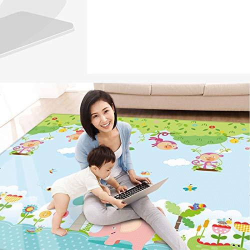 Gettesy Baby Spielmatte, Doppelseiten Faltbar Baby Krabbelmatte XXXL Wasserdicht Spielteppich LDPE Rutschfest Baby Krabbeldecke Gym Spielmatte - 200 x 180CM