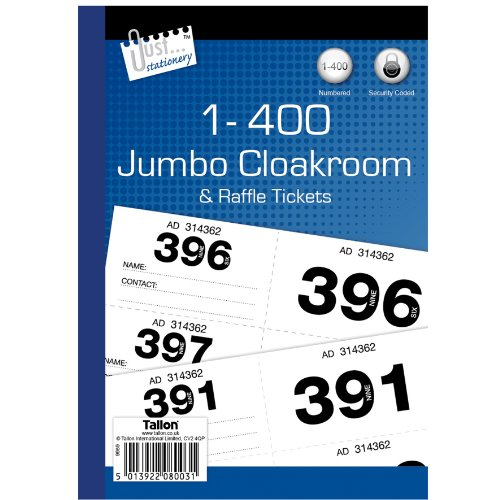Just Stationery 1-400 Biglietto Jumbo per guardaroba
