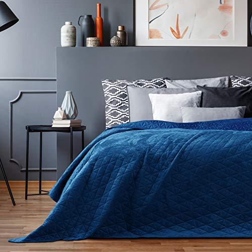 AmeliaHome Velvet Tagesdecke, Polyester, Laila Blau, 240x260 cm