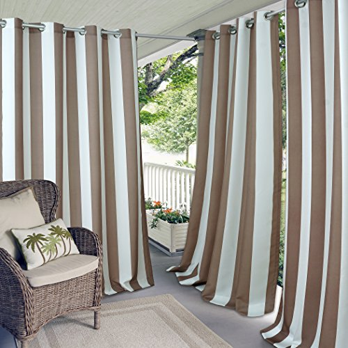 Elrene Home Fashions Aiden Indoor/Outdoor UV Protectant Cabana Stripe Grommet Top Window Curtain Panel for Patio, Pergola, Porch, Deck, and Lanai, 50' x 95' (1, Natural