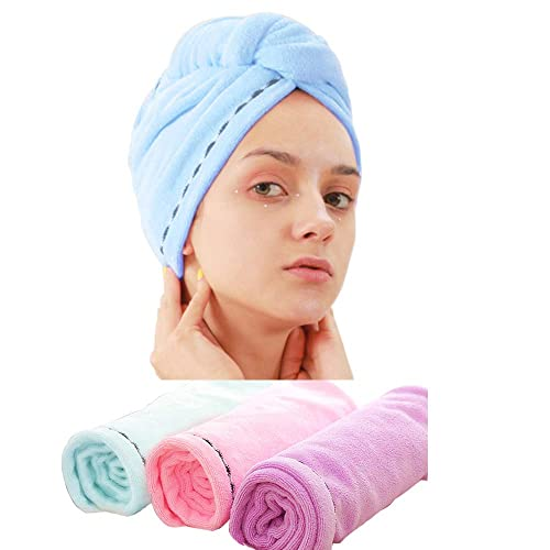 Noker 3 Pack Microfiber Hair Drying Towel Wrap Super Absorbent Twist Turban Fast Dry Hair Caps with Buttons Bath Loop Fasten Salon Dry Hair Hat Pink Blue Purple