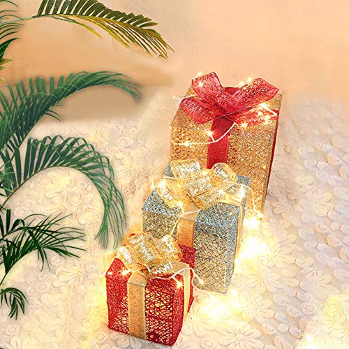 Lighted Gift Boxes, ZALALOVA Set of 3 Size Lighted Gift Boxes w/ 100 LEDs Indoor/Outdoor Christmas Decorations for Christmas Tree Porch Home (Golden Silver Red, Need to Install)