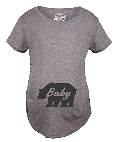Crazy Dog Tshirts - Maternity Baby Bear Tshirt Cute Adorable Pregnancy Tee for Expecting Mother (Heather Grey) - S - Femme