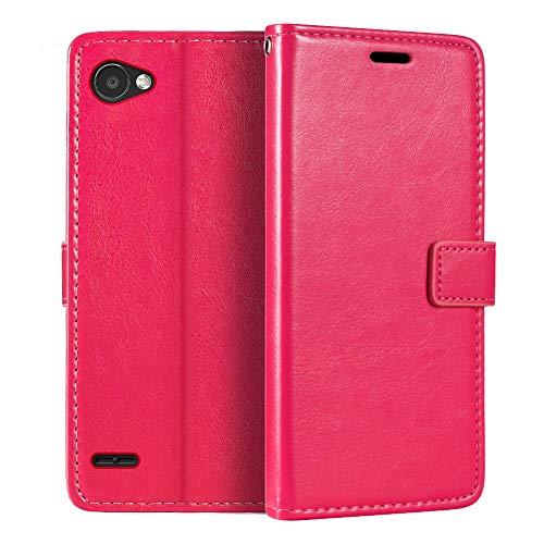 Capa carteira para LG Q6, capa flip magnética de couro sintético premium com suporte para cartão e suporte para LG Q6 Plus