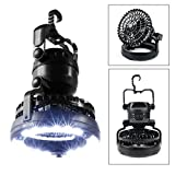 Odoland Portable LED Camping Lantern with Ceiling Fan - Hurricane Emergency Survival Kit