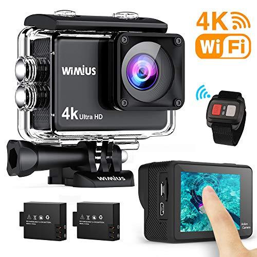 WiMiUS AI8000 Action Cam 4K WIFI HD 16MP Touch Screen Impermeabile Fotocamera 30M Videocamera Sportiva 170 Gradi grandangolare con telecomando + Kit accessori per casco