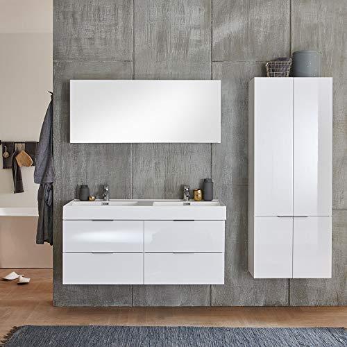 Moebella - Juego de Muebles de baño con Lavabo Doble (120 cm, Lacado Brillante, 4 Piezas), Color Blanco