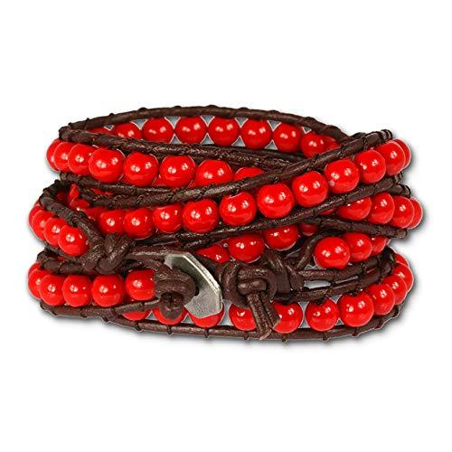 SilberDream Lederarmband Glas Kugel rot für Damen, Teenies oder Mädchen Leder Armband Echtleder LA2624R
