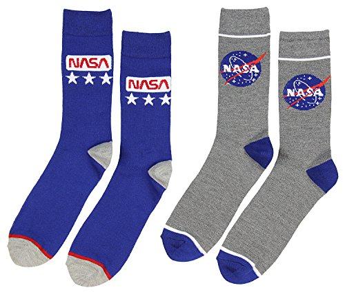 Buzz Aldrin NASA Logo Crew Socks 2 Pair Calf High